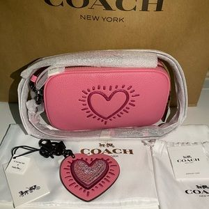 2pc Coach Keith Haring Set Purse & Keychain NWT